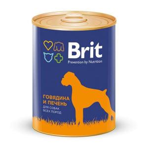 Brit Premium консерва для собак со вкусом говядины и печени, 0.85кг