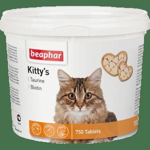 Кормовая добавка Beaphar Kitty's + Taurine-Biotine с биотином и таурином для кошек, 750 таблеток