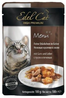 Эдель Кэт для кошек консерва гусь и печень в желе,  0.1кг
