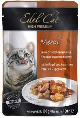 Консерва Эдель Кэт для кошек птица кролик в желе, 0.1кг