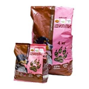 Сухой корм для взрослых собак Дилли со вкусом рыбы с рисом, 4кг