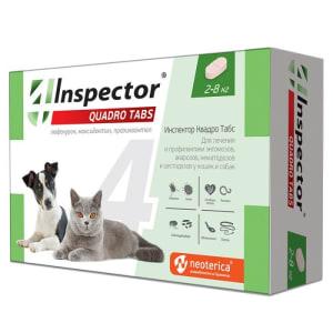 Inspector Quadro таблетки  для кошек и собак  2-8кг I402