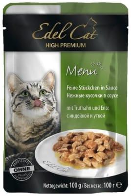 Консерва Эдель Кэт для кошек индейка/утка в соусе, 0.1кг