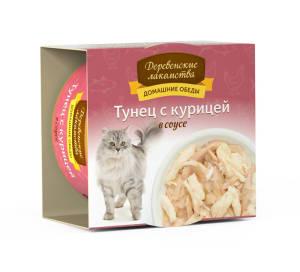 Деревенские лакомства консервы для кошек тунец и курица соус, 0.08кг