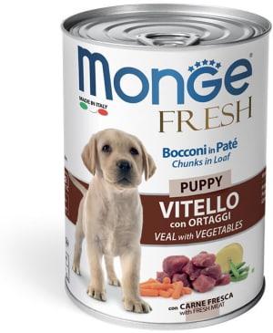 Monge Dog Fresh Chunks in Loaf консервы для щенков мясной рулет телятина с овощами 400г