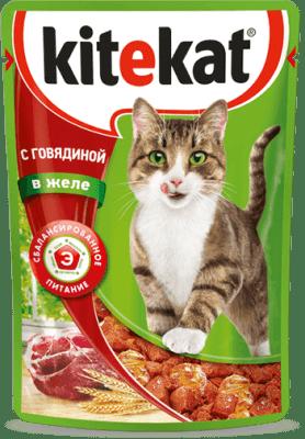 Kitekat пауч со вкусом говядины в желе, 0.085кг