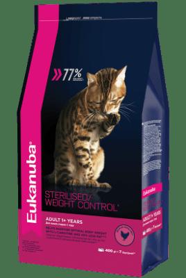 Сухой корм Eukanuba для стерилизованных кошек с избыточным весом, 0.4кг