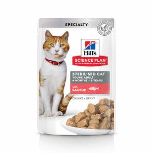 Влажный корм Hill's Science Plan для молодых стерилизованных кошек и кастрированных котов пауч с лососем в соусе, 0.085кг