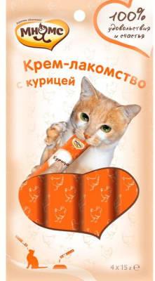 Мнямс Крем-лакомство для кошек с курицей 15г х 4шт.