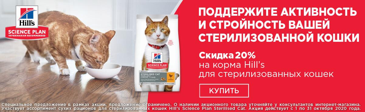 Скидка 20% на корма Hill's для стерилизованных кошек
