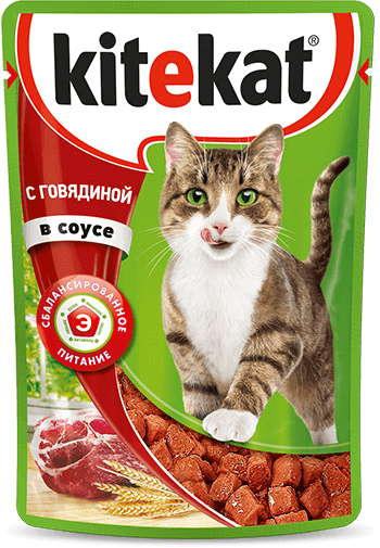 Kitekat пауч со вкусом говядины в соусе, 0.085кг