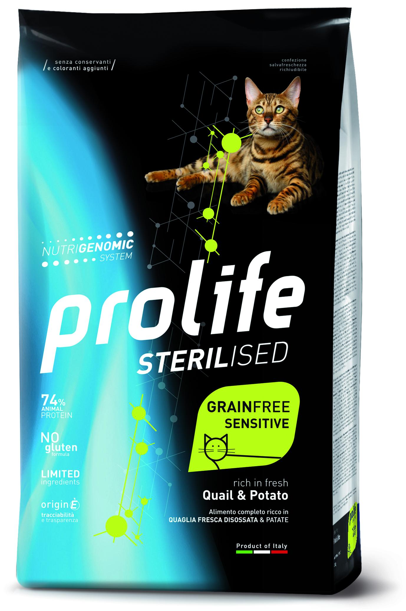 Prolife Sterialize Grainfree корм для кошек со вкусом перепёлки и картофеля, 0.4кг