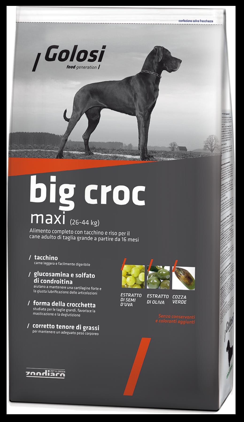 Golosi Maksi Croc корм для собак со вкусом индейки и риса, 12кг