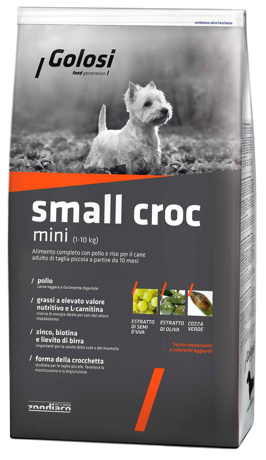 Golosi Small Croc Mini корм для собак со вкусом курицы и риса, 2кг