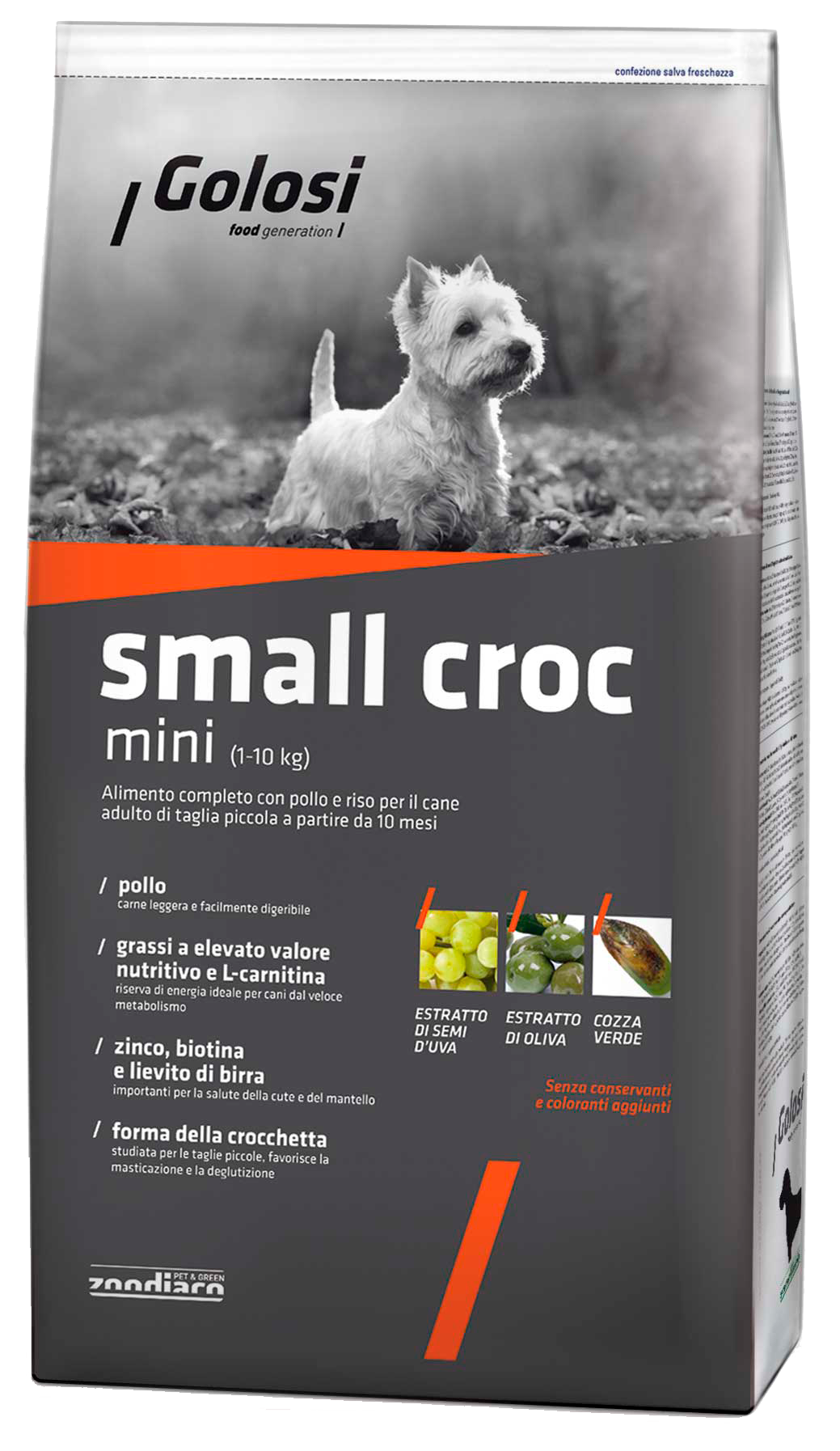 Golosi Small Croc Mini корм для собак со вкусом курицы и риса, 12кг