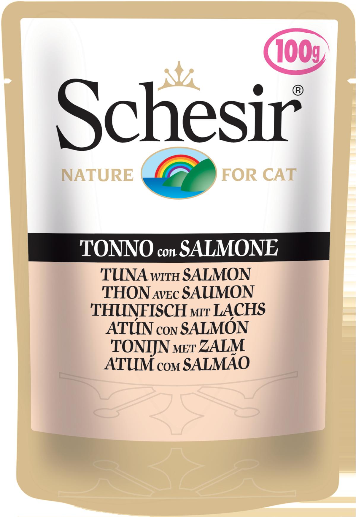 Schesir пауч для кошек со вкусом тунца и лосося, 0.1кг
