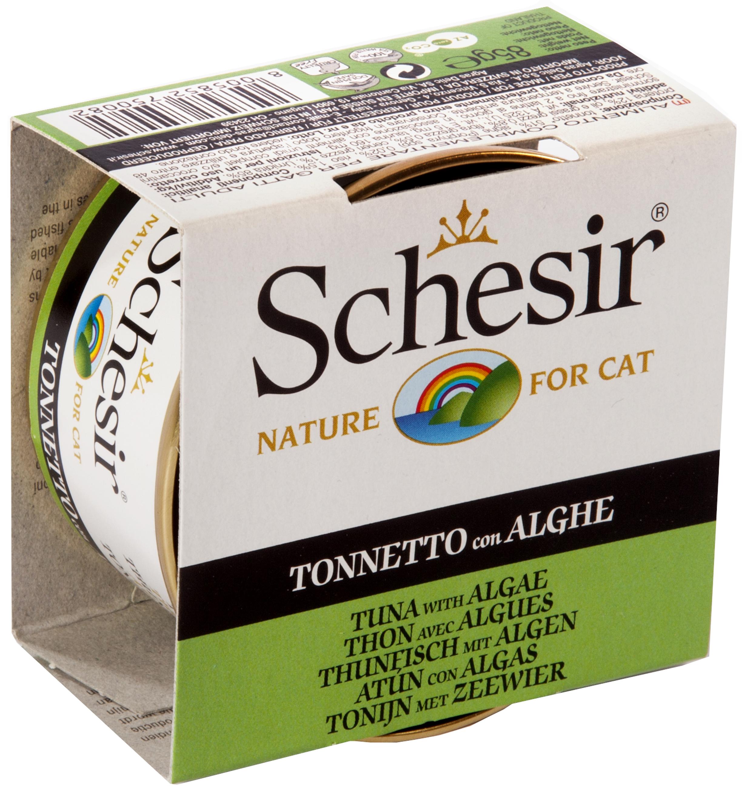 Schesir консерва для кошек со вкусом тунца и морских водорослей, 0.085кг