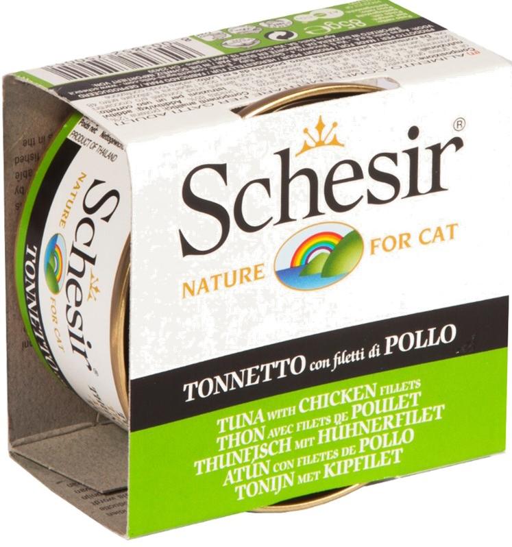 Schesir консерва для кошек со вкусом тунца и цыпленка, 0.085кг
