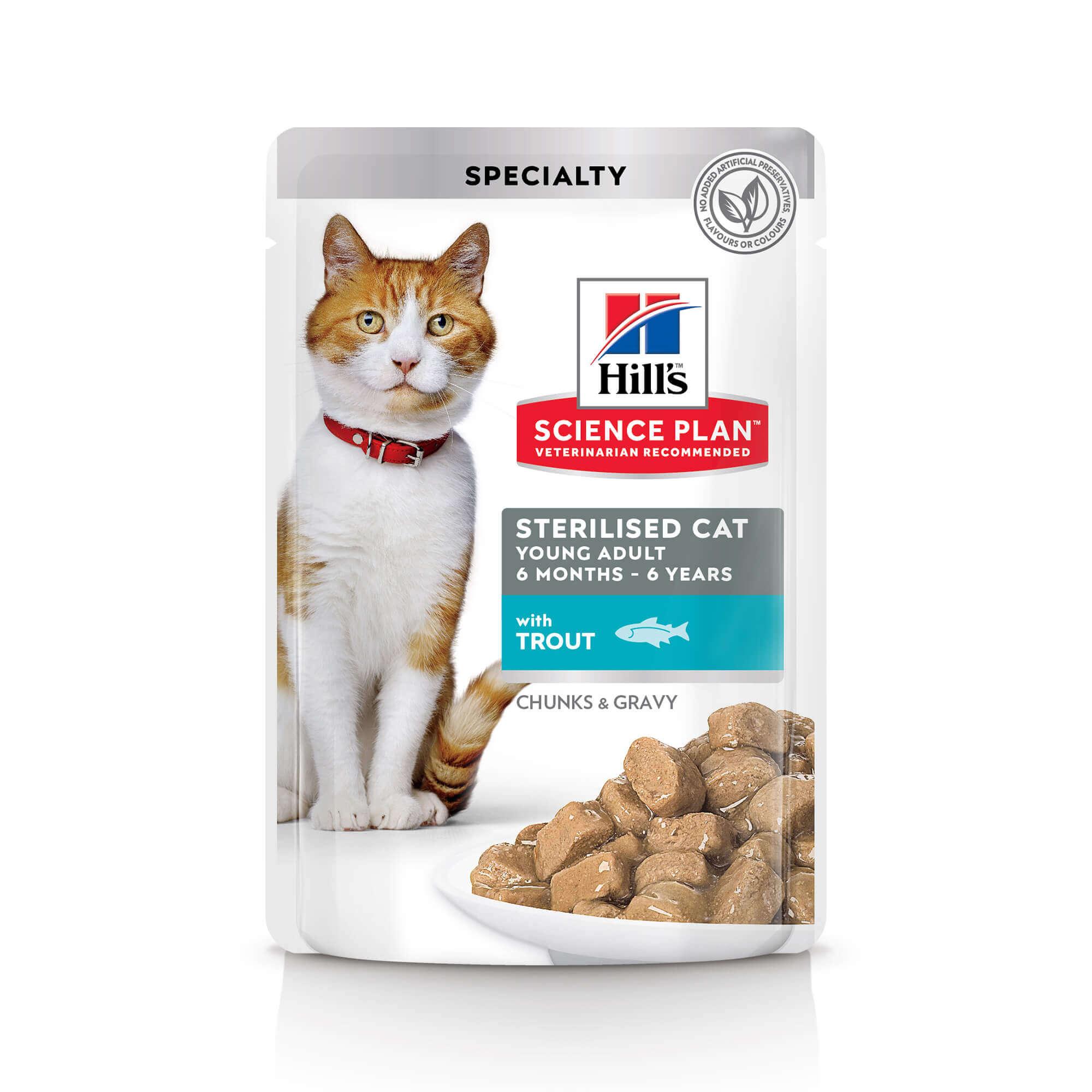 Влажный корм Hill's Science Plan для молодых стерилизованных кошек и кастрированных котов пауч с форелью в соусе, 0.085кг
