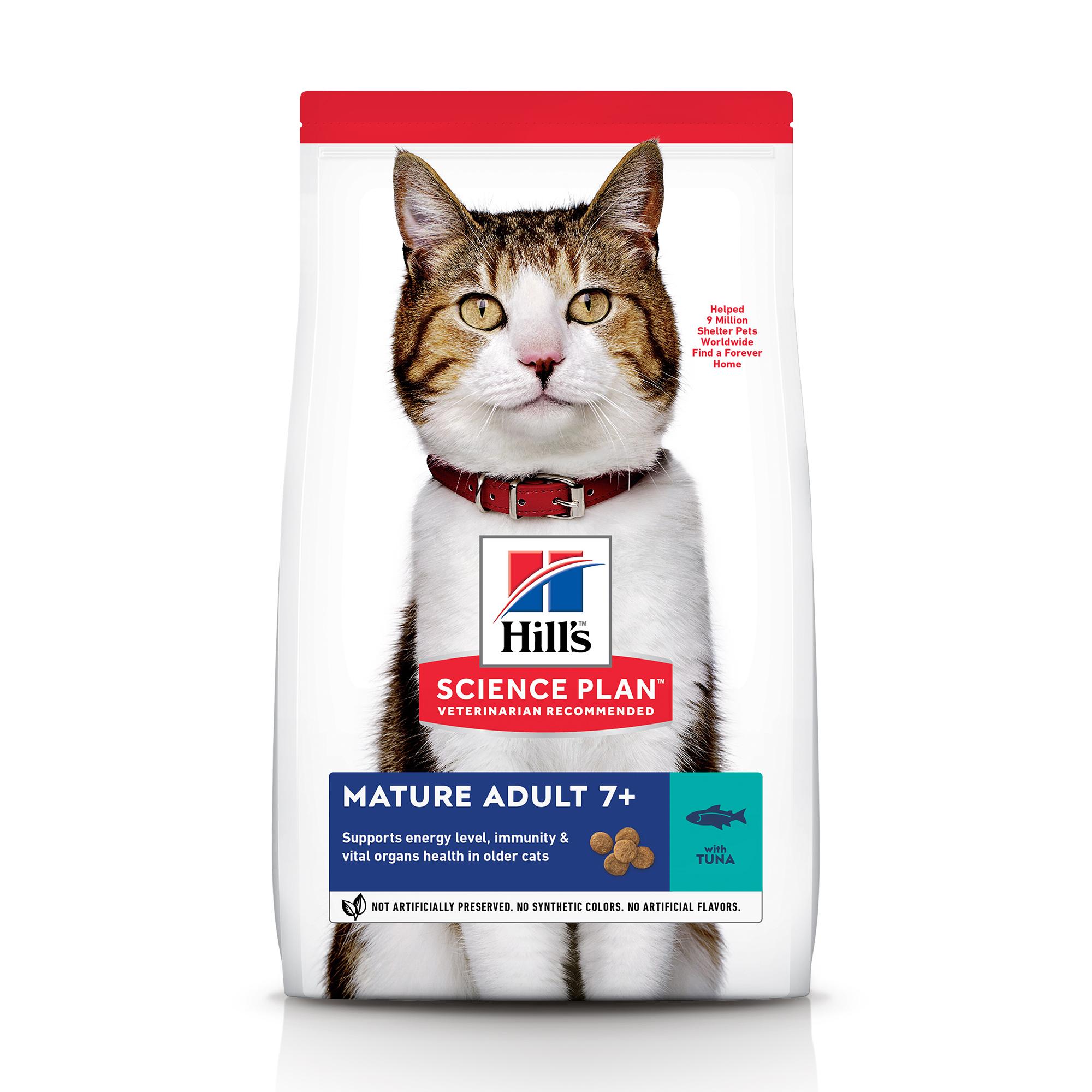 Сухой корм Hill's Science Plan для пожилых кошек (7+)для поддержания здоровья в период старения с тунцом, 1.5 кг