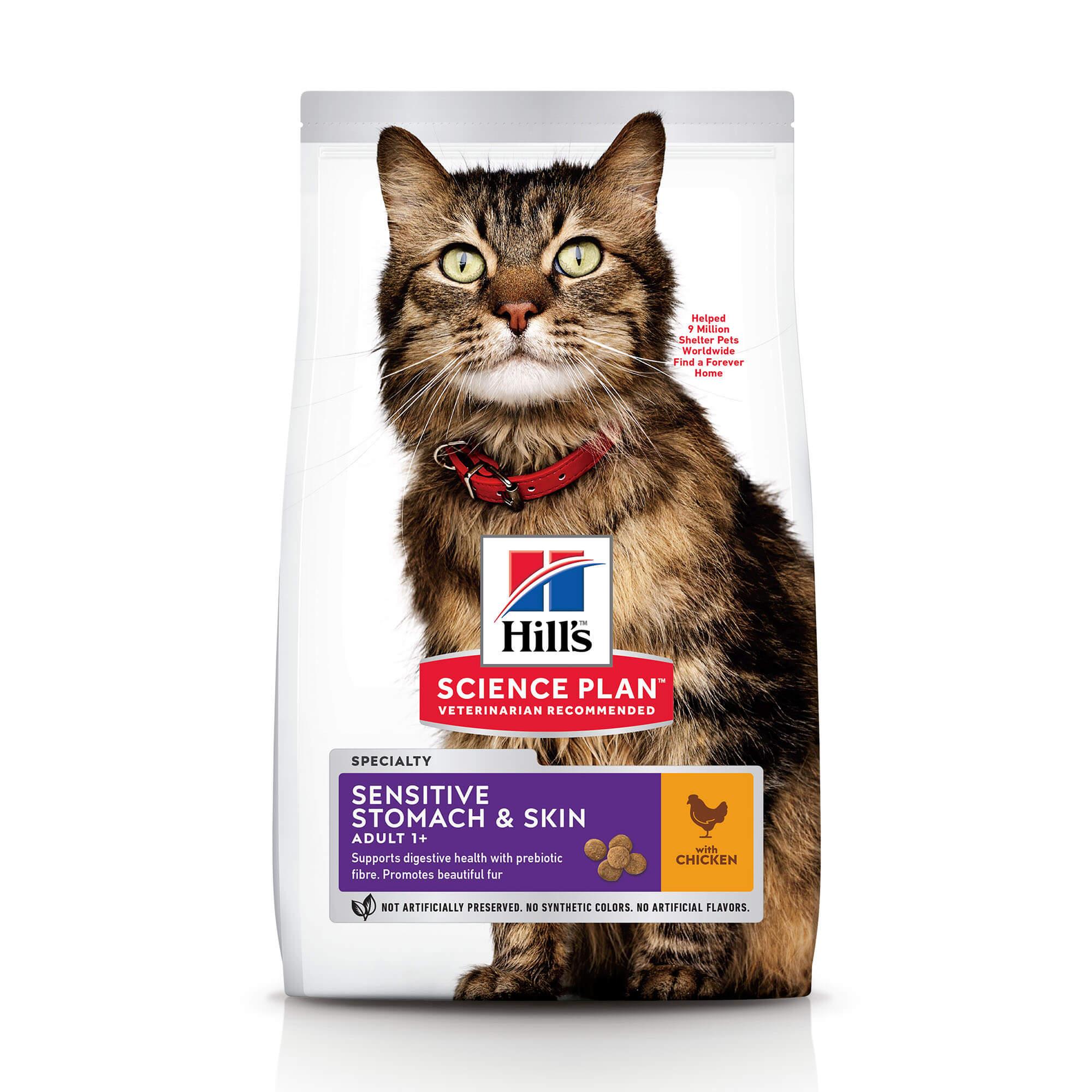 Сухой корм Hill's Science Plan Sensitive Stomach & Skin для кошек с чувствительным пищеварением и кожей с курицей, 1.5кг