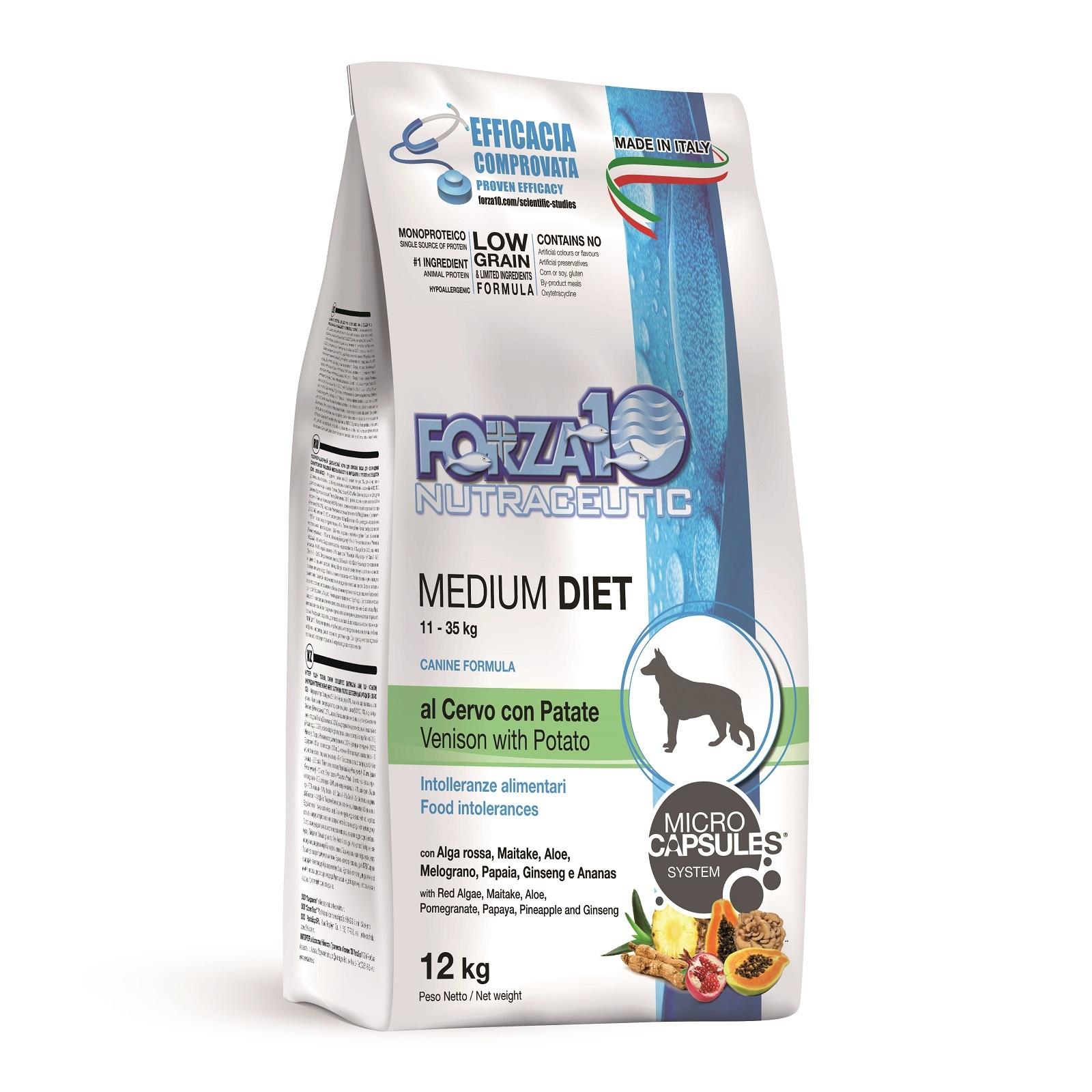 Сухой корм Forza 10 Medium Diet Agnello для взрослых собак с олениной, 12кг