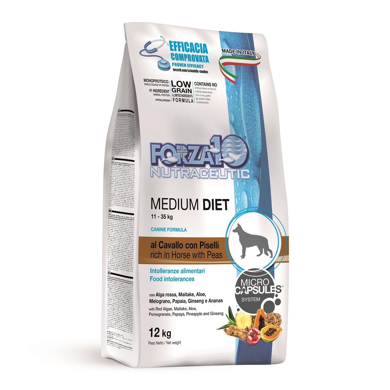 Сухой корм Forza 10 Medium Diet Low Grain для взрослых собак с кониной, 12кг