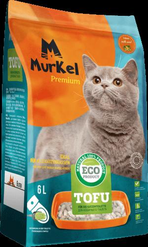 Murkel гигиенический наполнитель для кошачьего туалета, тофу с ароматом молока, 6л