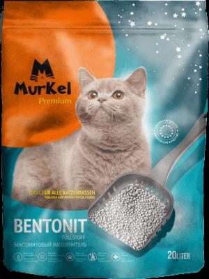 Murkel гигиенический наполнитель  для кошачьего туалета бентонит с активированным углем, 20л