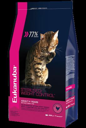 Сухой корм Eukanuba для стерилизованных кошек с избыточным весом, 1.5кг