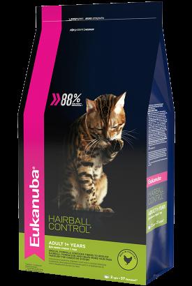 сухой корм Eukanuba для взрослых кошек редко выходящих на улицу HAIRBALL, 2кг
