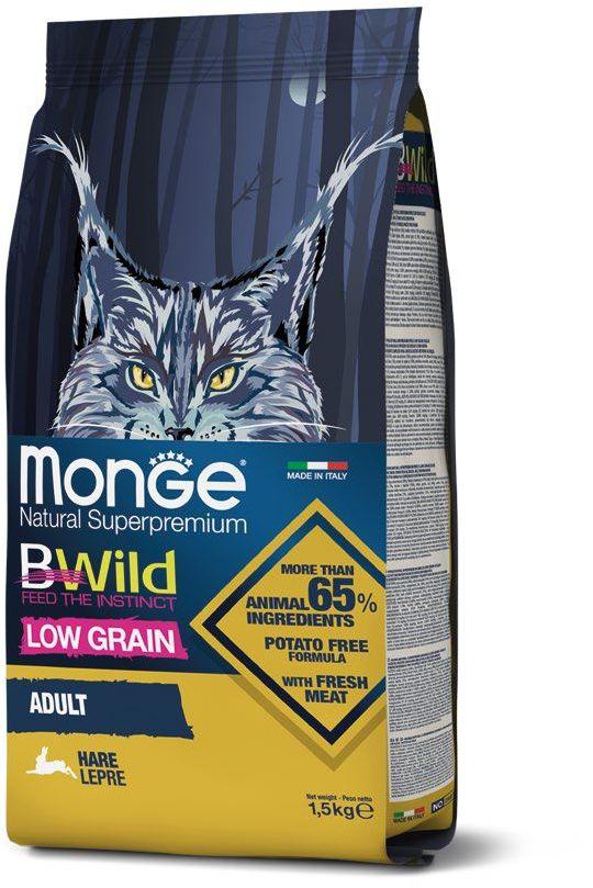 Monge Cat BWild LOW GRAIN низкозерновой корм из мяса зайца для взрослых кошек, 1.5 кг