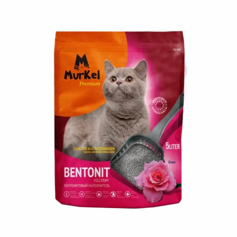Murkel Гигиенический наполнитель для кошачьего туалета бентонит с ароматом розы, 5л