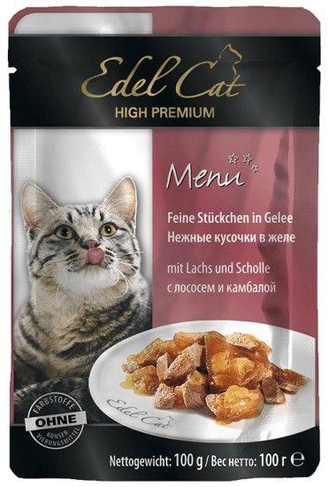 Консерва Эдель Кэт для кошек лосось камбала в желе, 0.1кг