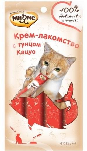 Мнямс Крем-лакомство для кошек с тунцом Кацуо 15г х 4шт.