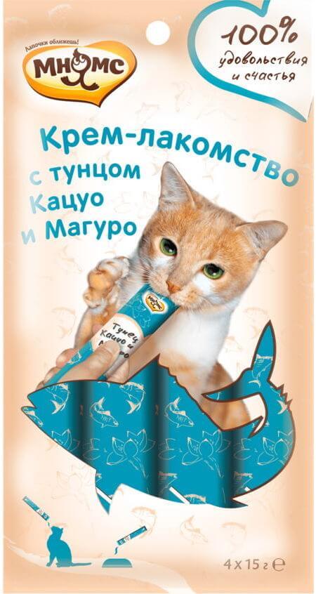 Мнямс Крем-лакомство для кошек с тунцом Кацуо и Магуро 15г х 4шт.