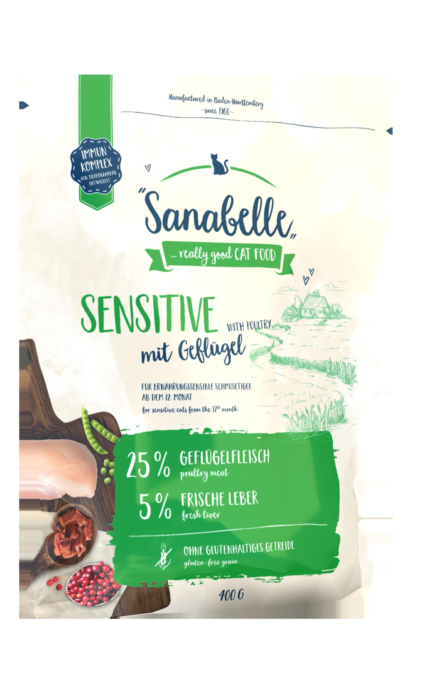 Диетический кошачий корм Sanabelle Sensitive с мясом домашней птицы, 0.4кг