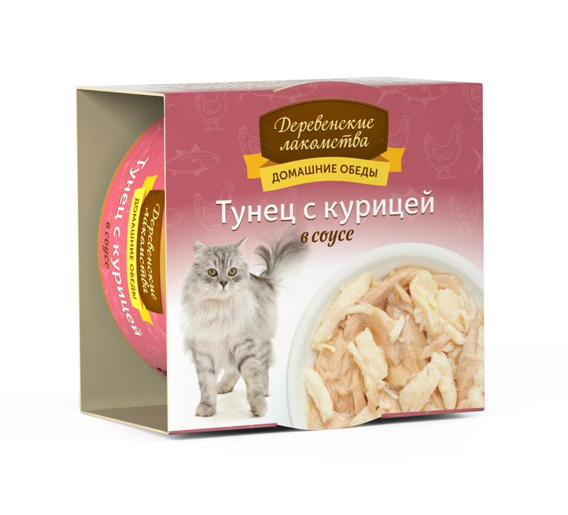Деревенские лакомства консервы для кошек тунец и креветки соус, 0.08кг