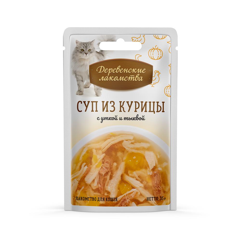 Лакомства Деревенские для кошек суп из кур с уткой и тыквой пауч, 0.035кг