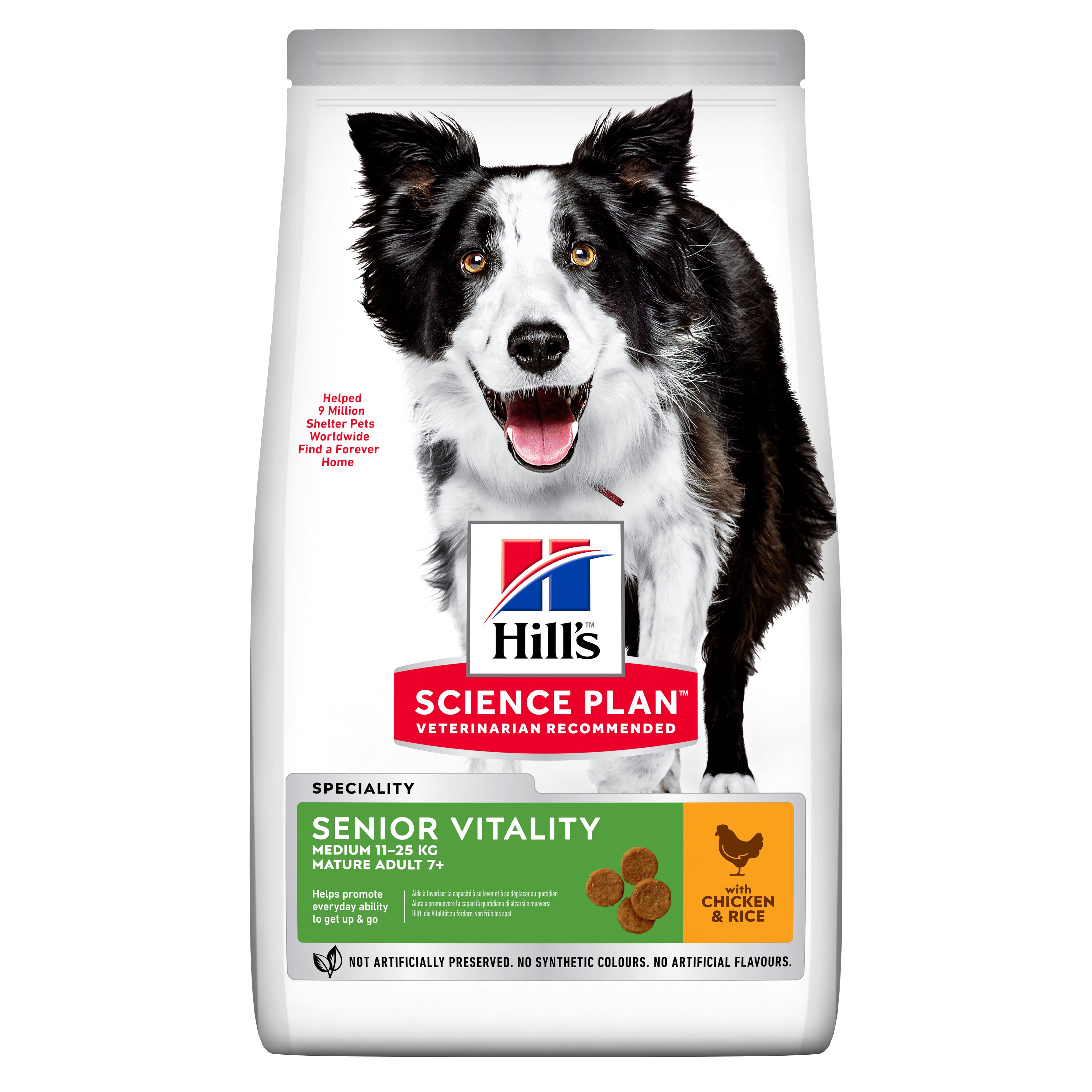 Сухой корм Hill's Science Plan Senior Vitality для пожилых собак средних пород старше 7 лет, с курицей и рисом, 12кг