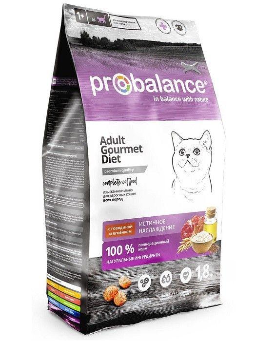 ПРОБаланс Gourmet Diet сухой корм для кошек с говядиной и ягненком, 1.8кг