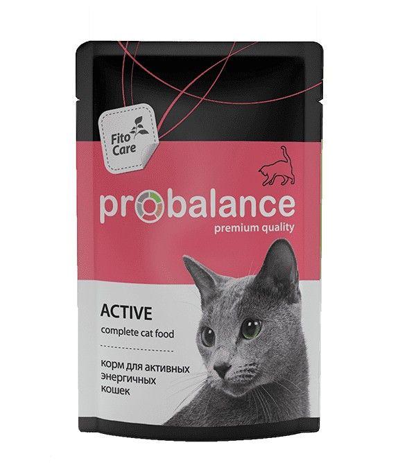 ПРОБаланс консервы для кошек для активных, 0.085кг