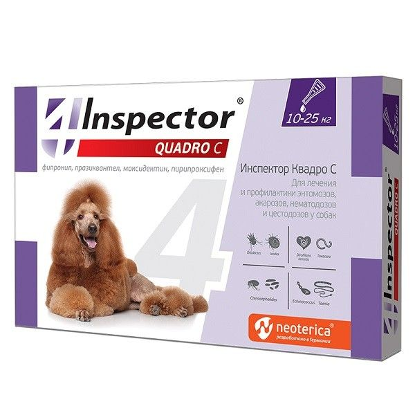 Капли на холку Inspector Quadro для собак 10 - 25 кг