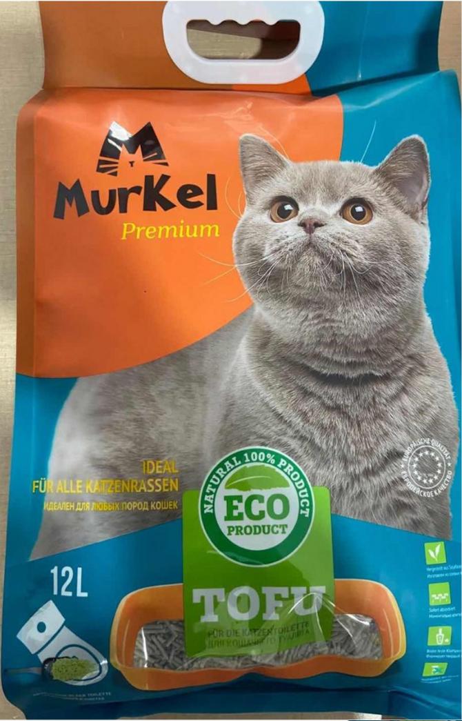 Murkel гигиенический наполнитель для кошачьего туалета, тофу с ароматом зеленного чая, 12л