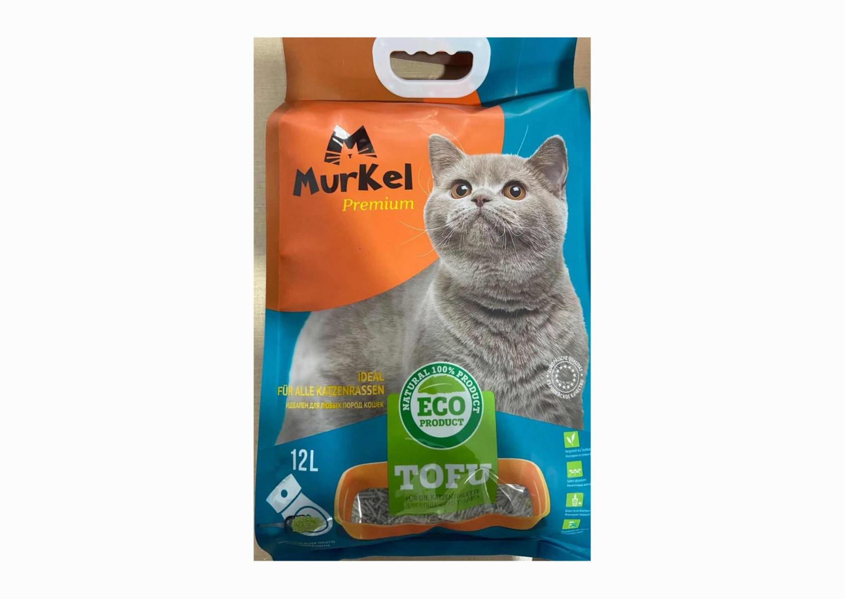 Мurkel Гигиенический наполнитель для кошачьего туалета, тофу Активированный уголь, 12л