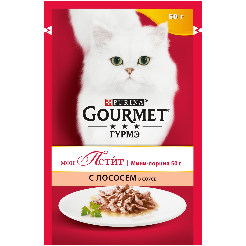 Влажный корм Gourmet Мон Петит для кошек, с лососем в соусе, 0.050кг