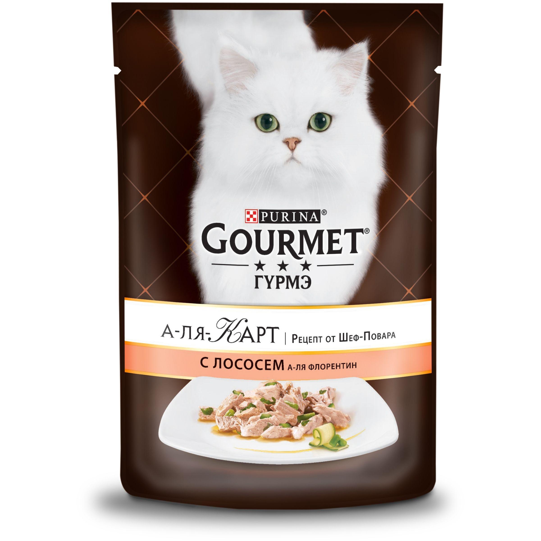 Влажный корм Gourmet А-ля Карт для кошек, с лососем а-ля Флорентин, шпинатом, цукини и зеленой фасолью, 0.085кг