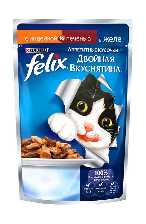 Влажный корм для кошек Purina Felix Аппетитные кусочки Двойная вкуснятина, индейка и печень, 0.085кг