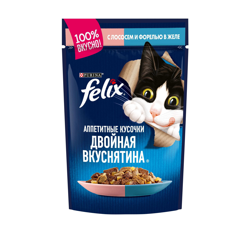 Влажный корм Felix® Аппетитные кусочки. Двойная вкуснятина для взрослых кошек, с лососем и форелью в желе, 0.085кг