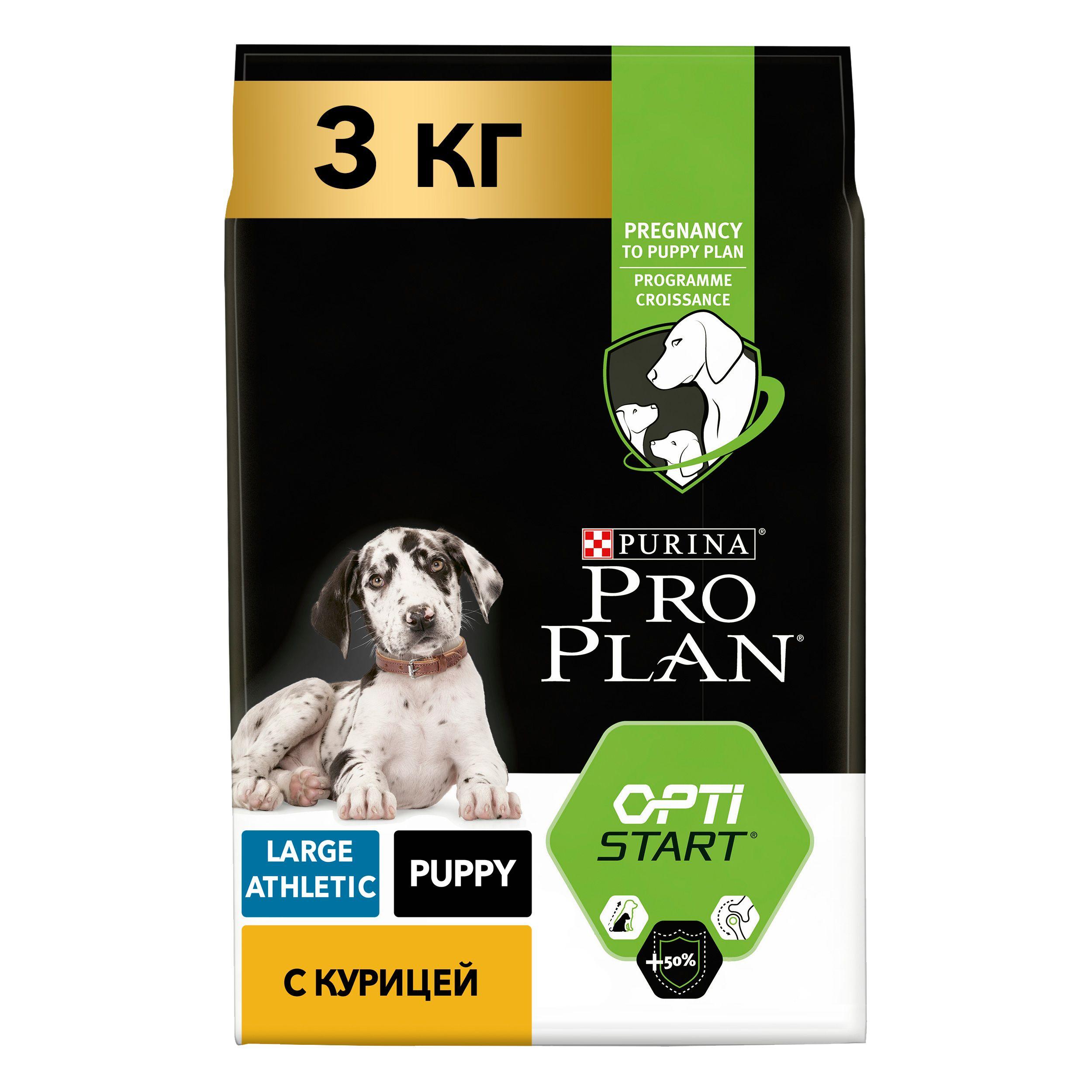 Сухой корм Pro Plan® для щенков крупных пород с атлетическим телосложением, курица с рисом, 3кг